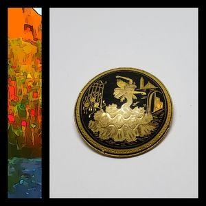 Vintage Dancer Golden Pin for Animal Rescue